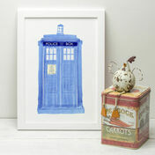 Doctor Who Police Box Illustrated Print