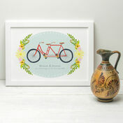 Personalised Illustrated Couples Tandem Bike Print
