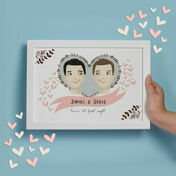 Personalised Illustrated Same Sex Couple Print for Men