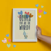 Personalised Elephant Baby Print