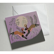 Moonlight Hares Illustrated Greetings Card