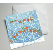Christmas Robins Illustrated Christmas Card