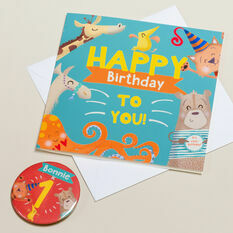 'Wow You're' Themed Birthday Card and Personalised Badge