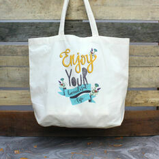 Enjoy Your Beautiful Life Illustrated Tote Bag