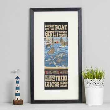 Row, Row, Row Your Boat... London Print