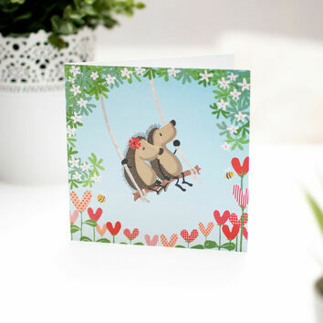 Hedgehugs 'Blossom Swing' Illustrated Greetings Card