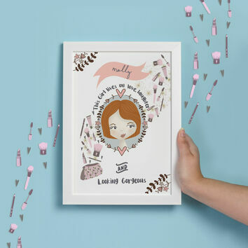Personalised Illustrated 'This Girl' Print For Teenagers