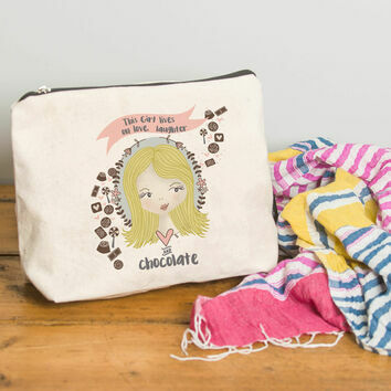 Personalised Illustrated 'This Girl' Make Up Bag For Her