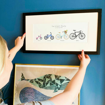 Personalised Family Bicycle Art Print