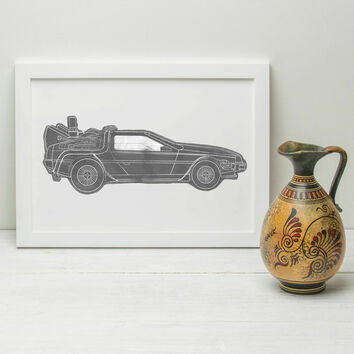 Back to Future DeLorean Illustrated Print