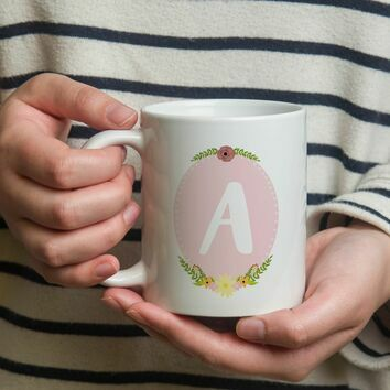 Girl's Initial Illustrated Mug