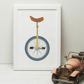 Unicycle Illustrated Print