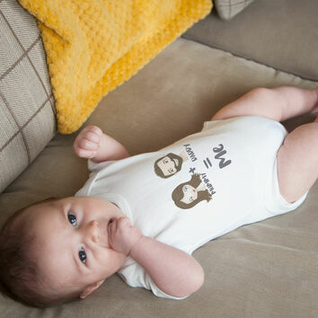 Personalised Illustrated Mummy & Daddy Baby Grow