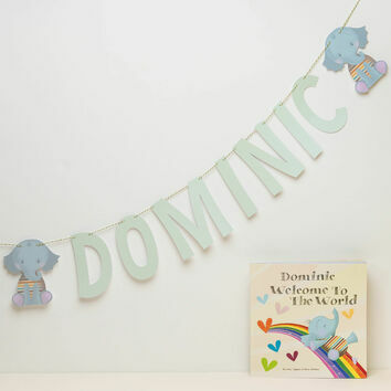 Personalised 'Welcome To The World' Themed Name Bunting