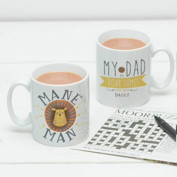 Personalised 'Roar Some' Mane Man Mug For Dads