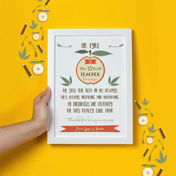 Personalised Illustrated 'The Best Teacher' Print
