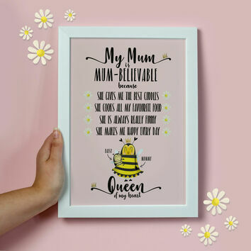 Personalised 'Mum-believable' Print For Mum
