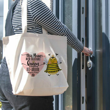 Personalised Queen Bee Tote Bag For Mum
