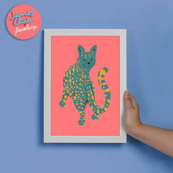 Cat Illustrated Print By James Cluer