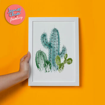 'Cactus' Illustrated Print by James Cluer