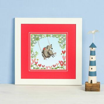 Hedgehugs 'Tree Swing' Framed Print