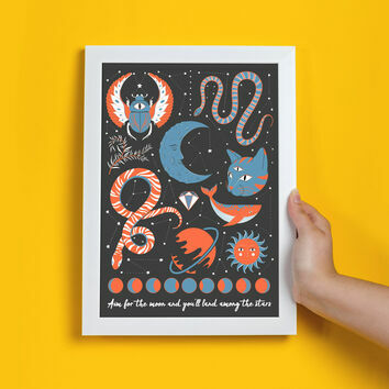Personalised Illustrated Moons And Stars Print by James Cluer