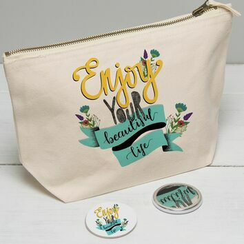 Enjoy Your Beautiful Life Illustrated Wash Bag
