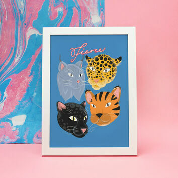 Illustrated 'Fierce' Big Cat Print by James Cluer