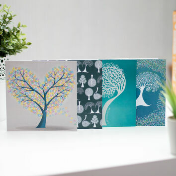 Illustrated Trees Greetings Cards (Set Of Four)