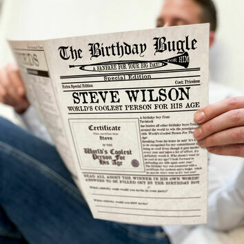 \'The Birthday Bugle\' Personalised Newspaper For Him