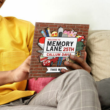 Personalised \'Memory Lane\' 25th Birthday Book