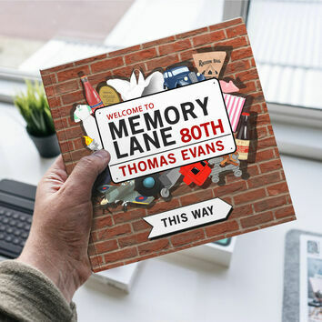 Personalised 80th Birthday \'Memory Lane\' Book