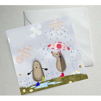 Hedgehugs 'Rainy Day' Greetings Card
