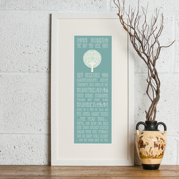 30th Birthday 'The Day You Were Born' Special Edition Personalised Print