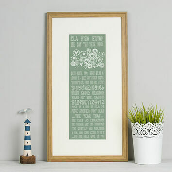 50th Birthday 'The Day You Were Born' Special Edition Personalised Print