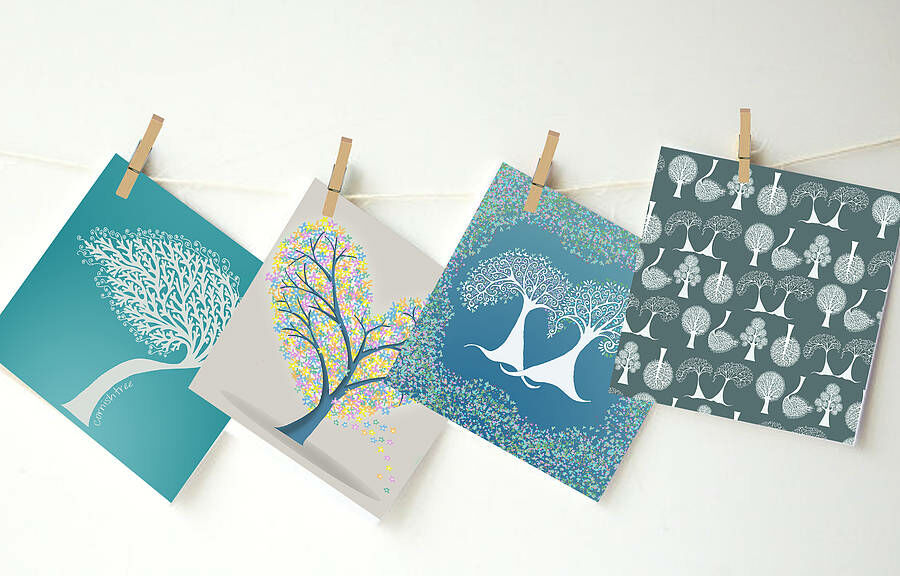 Illustrated trees greetings cards set of four only 850 illustrated trees greetings cards set of four additional 1 m4hsunfo