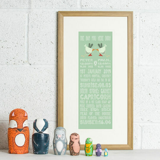 Twins 'The Day You Were Born' Personalised Print