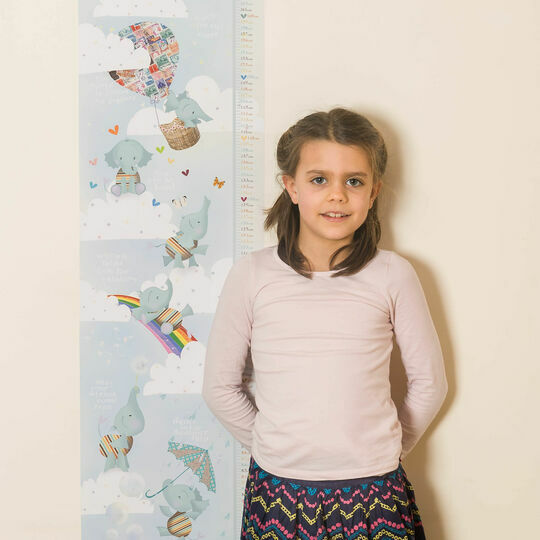 Personalised Illustrated Elephant Height Chart