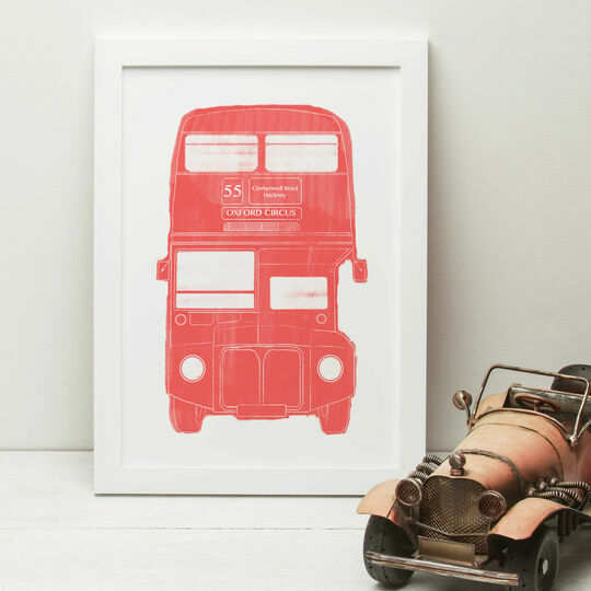 London Red Bus Illustrated Print
