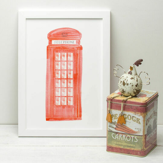 London Red Telephone Box Illustrated Print