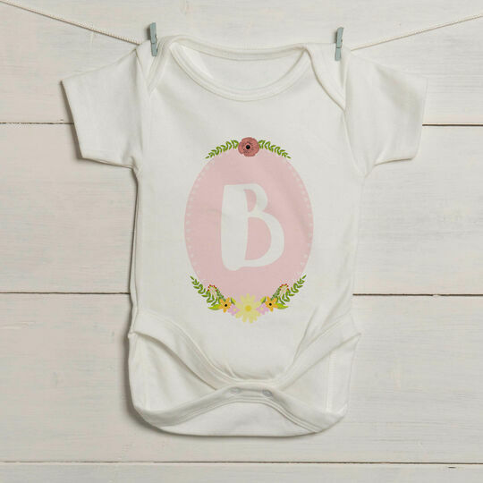 Girl's Initial Illustrated Baby Grow