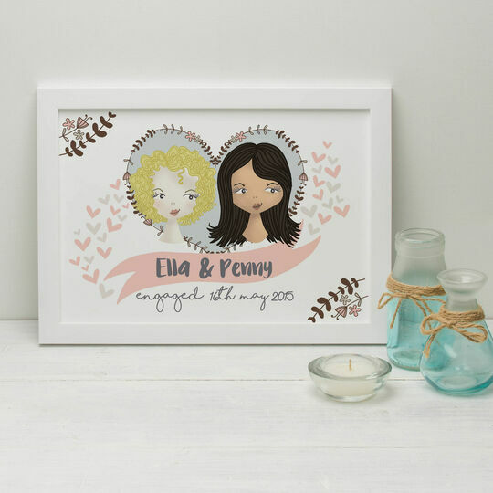 Personalised Illustrated Same Sex Couple Print for Women