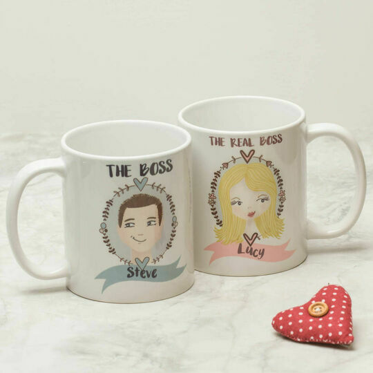 His & Hers Personalised Illustrated Mugs