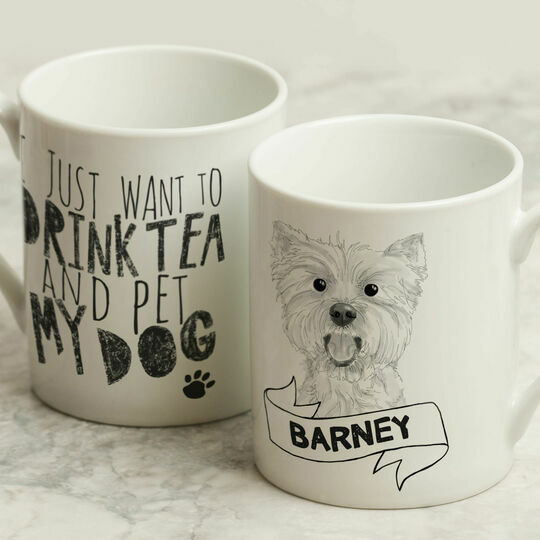 Personalised Illustrated 'Pet My Dog' Mug