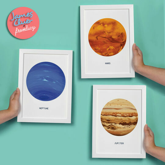 Planets Illustrated Prints by James Cluer