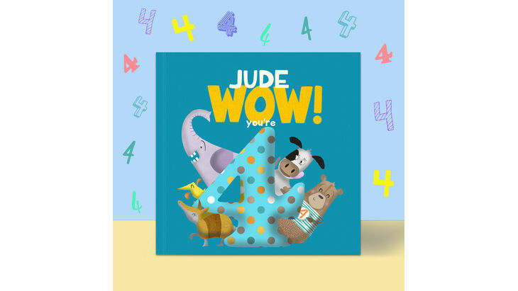\'Wow You\'re Four\' 4th Birthday Children\'s Book
